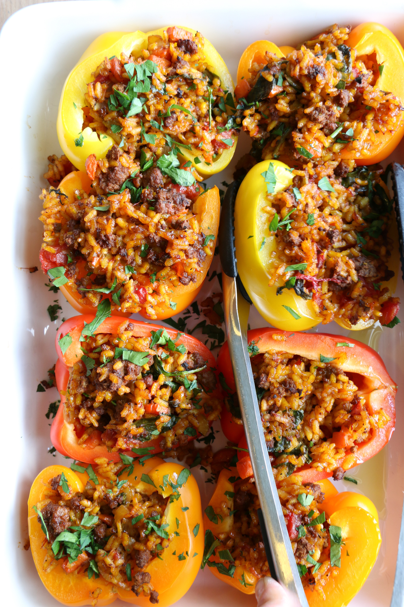 Stuffed Peppers with Beef Paella! Filling, delicious and nutritious, bell peppers are a great vehicle for pasta, rice, vegetables and more!