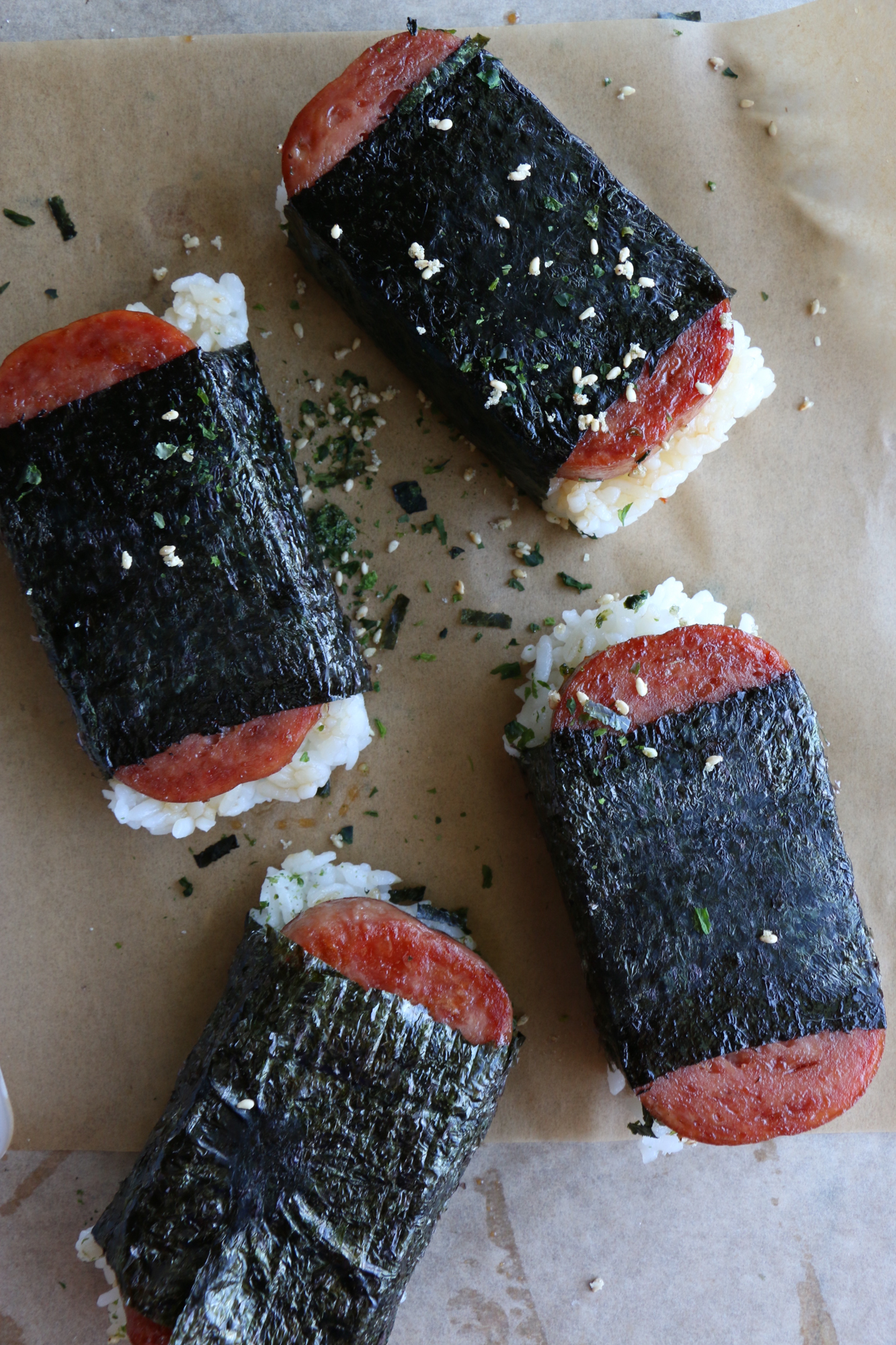 How To Make Spam Musubi. So delicious and so easy to make! Seasoned rice and spam, with furikake and wrapped in nori. It's so good!