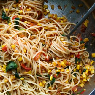 Summer Pasta with Corn! So delicious, super easy to make and bringing together some of your favorite summer vegetables! So good!