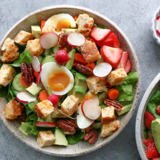 The most fabulous salad with biscuit croutons! Yes, you heard that right! Biscuit croutons! Take your salad up a few notches and try this!