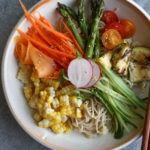 Cold Summer Ramen! Delicious flavorful ramen with no broth! Garnished with grilled zucchini and summer squash, corn, carrots, shaved papaya, cucumbers and more! It's so good!