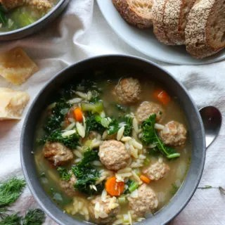 Weeknight Italian Wedding Soup using delicious, oven baked Rosina Foods Italian Style Meatballs! So delicious, and such a huge time saver!