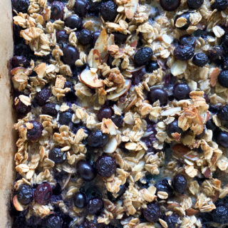 Blueberry Baked Oat Bars! Subtly sweet from blueberries and honey and made with Quaker Old Fashioned Oats, you have to try these!