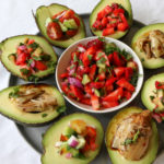 Strawberry Salsa Avocado Boats! Healthy, quick, delicious and so easy to make! You'll be making and eating these all summer long!