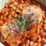 Stewed Chicken with Tomatoes and White Beans. Hearty, delicious and warming to your body, these are all the things I want in the fall.