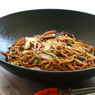 Vegetable Lo Mein with Cabbage and Mushrooms. Once you have all of your ingredients prepped, this comes together really quickly!