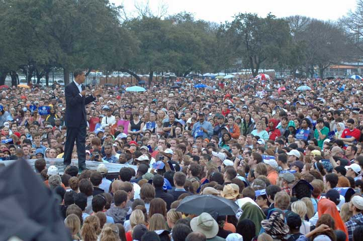 Obama Draws Huge Crowds