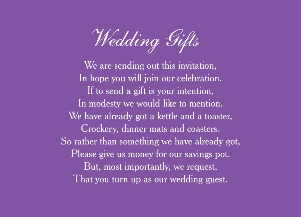 Classic Wedding Gift Wish Card From £0.40 Each