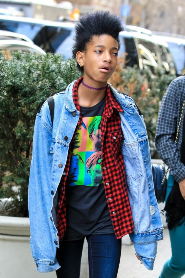 Child actress Willow Smith comes out of her NY hotel to go shopping at American Apparel store
