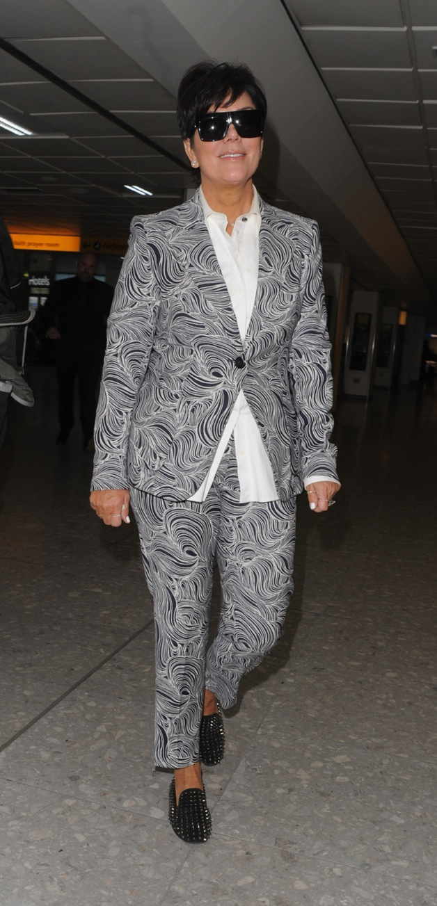 Kris Jenner seen at Heathrow Airport in London