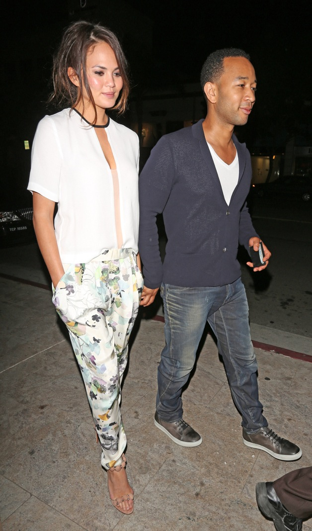 Singer John Legend Leaves Mastro's Steakhouse after having dinner with his wife Christy in Beverly Hills