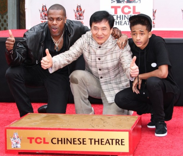 Chris Tucker, Jackie Chan and Jaden Smith attend the Jackie Chan Hand and Foot Print Ceremony at TCL Chinese Theatre in Hollywood