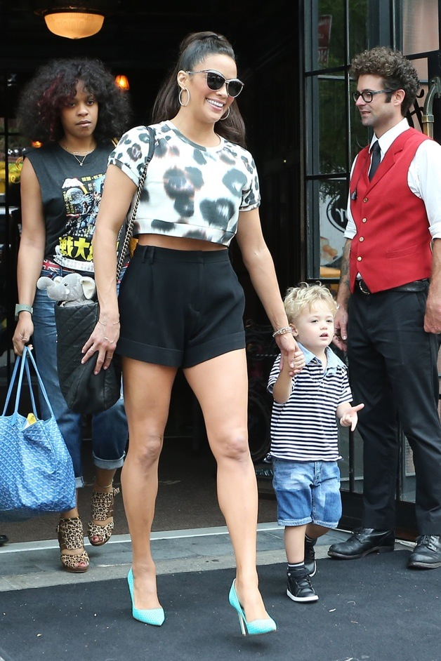 Actress Paula Patton seen leaving the The Bowery Hotel with son, Julian Fuego Thicke, in New York City