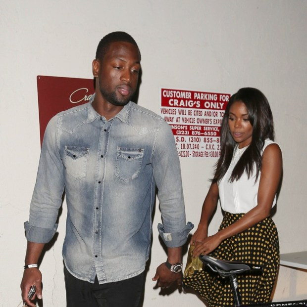 NBA Miami heat footballer Dwyane Wade and actress girlfriend Gabrielle Union are all smiles as they leave the Craig's restaurant in West Hollywood