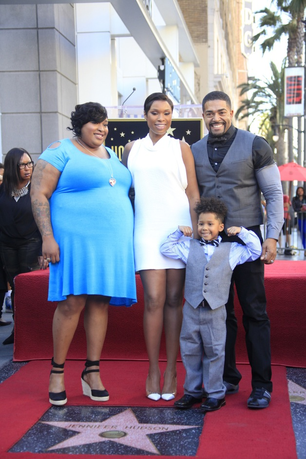 Jennifer Hudson poses with Julia Hudson, David Daniel Otunga Sr. and David Daniel Otunga Jr. as she is honored with a star on The Hollywood Walk of Fame