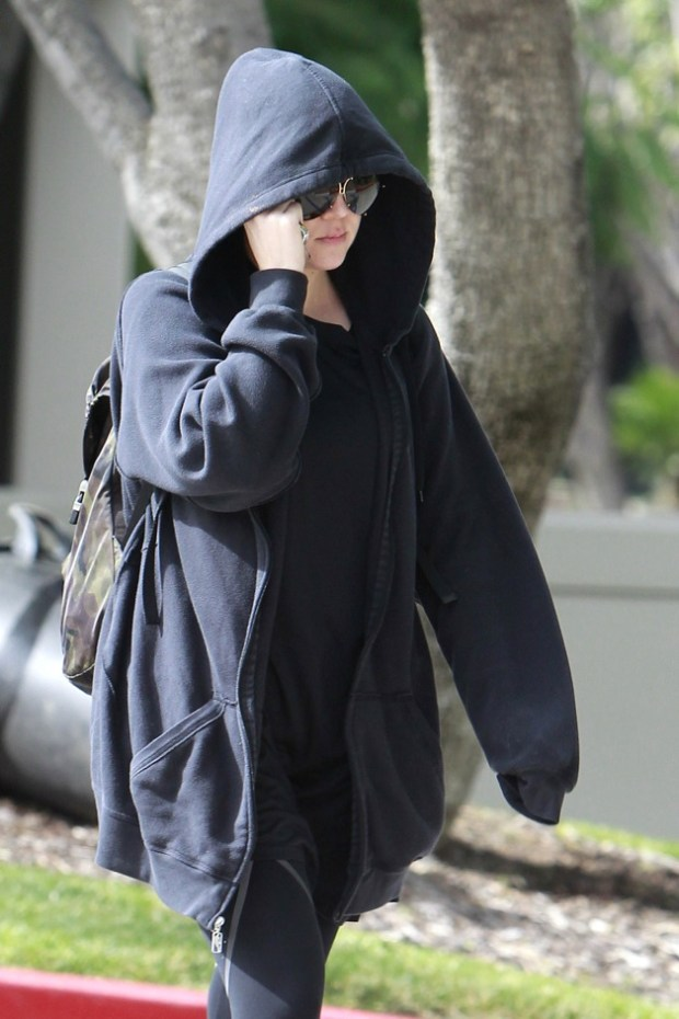 Khloe Kardashian tries to keep a low profile as she heads to a Los Angeles gym amidst stories that she is divorcing husband Lamar Odom
