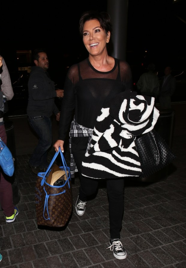 Kim Kardashian, Kris Jenner, Kendall Jenner, Kylie Jenner and Khloe Kardashian arrive at LAX airport in Los Angeles