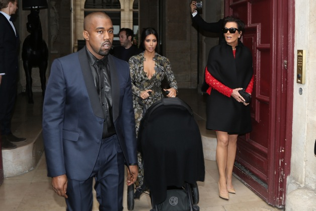 Kris Jenner, Kim Kardashian with baby North West and Kanye West at Chateau de Wideville for brunch in Paris