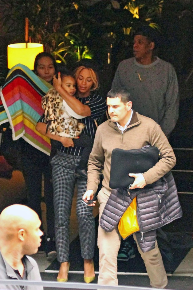 Beyonce Knowles with husband Jay Z and their daughter, Blue Ivy seen out in Barcelona