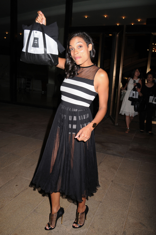 Rosario Dawson seen leaving the Opening Ceremony Fashion show at the Metropolitan Opera House in Lincoln Center, New York City