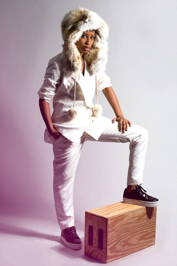 Jenni Kanye Jacket and Pants, Raoul Leather Sport Sneaker, Pologeorgis Coyote Fur Hat with Pompoms