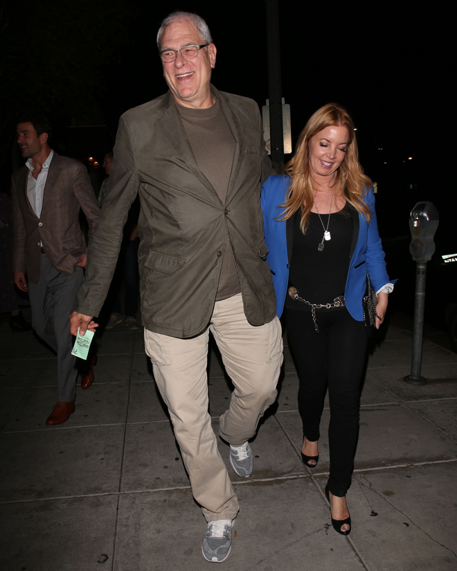 Phil Jackson seen last year with this fiancée, Jeanie Buss.