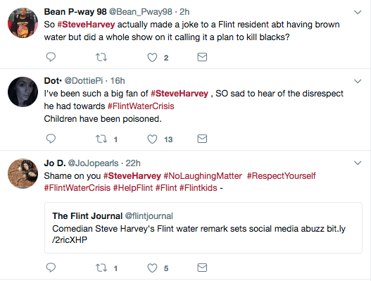 Steve Harvey tells Flint caller: 'Enjoy your nice brown glass of water'