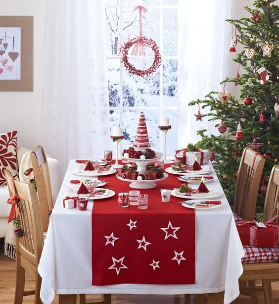 Scandi style Christmas table in Red and White just perfect for any decor.