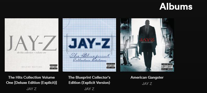 Jay z puts three albums back on spotify rapclone the blueprint collectors edition the last two sets share of the same songs like izzo hova and 03 bonnie clyde featuring beyonce malvernweather Images
