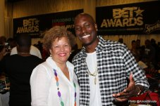 Debra Lee, Chairman and Chief Executive Officer of BET and Tyrese, Official Mayor Of 2015 BET Experience attend BET's Radio Remote on Friday, June 26, 2015 at JW Marriott LA Live in Los Angeles, California. (Photo by @ArnoldShoots)