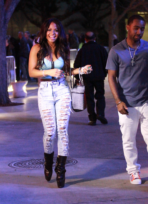 Christina-Milians-Lakers-Game-Zip-Front-Chambray-Bustier-Go-Jane-High-Waisted-Distressed-Jeans-and-Christian-Louboutin-Equestria-Boots-1