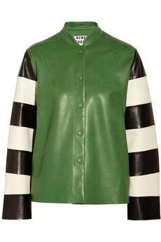 Rihannas-Instagram-Acne-Valentine-Green-Leather-Striped-Sleeve-Jacket