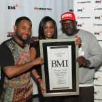 BMI's Byron Wright (l) and Catherine Brewton present V-103 radio stations DJ Greg Street with the Legends of ATL Award at the BMI 15th Annual Unsigned Urban Showcase, held at Terminal West on April 11, 2013 in Atlanta, GA.