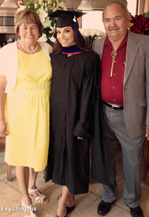 Eva Longoria after commencement with her parents