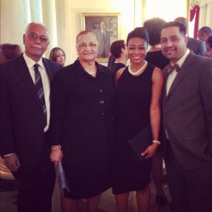 Heavy D's mother, father and brother Floyd  and Tatyana Ali at a White House event.