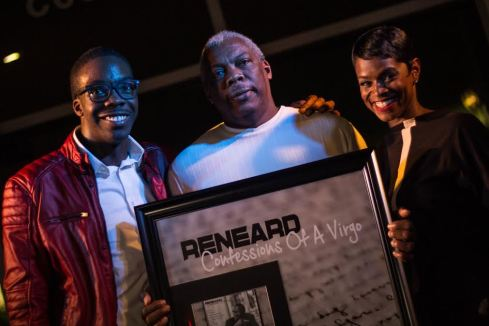 "​Reneard Presenting a Commemorative ""Confessions of A Virgo"" Plaque to his Father Bobby Green with Host for the Evening Rashan Ali (Multimedia Personality/Philanthropist) at the ""Confessions of A Virgo"" Album Release Party at Audi Atlanta"