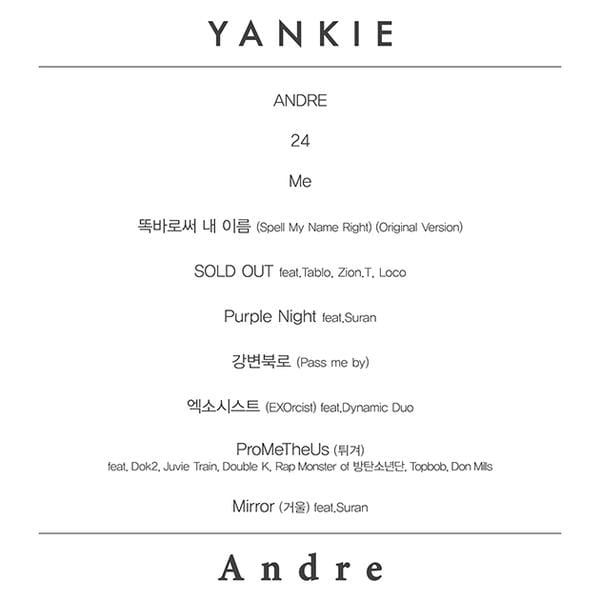 Yankie - Andre tracklist