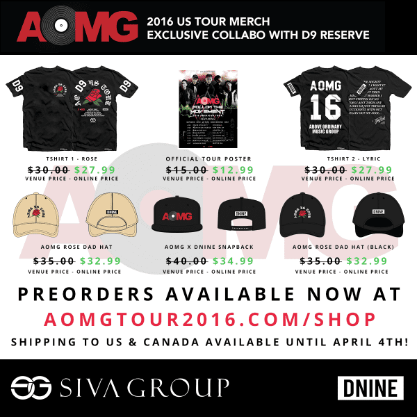 AOMG Follow The Movement 2016 American Tour Merchandise