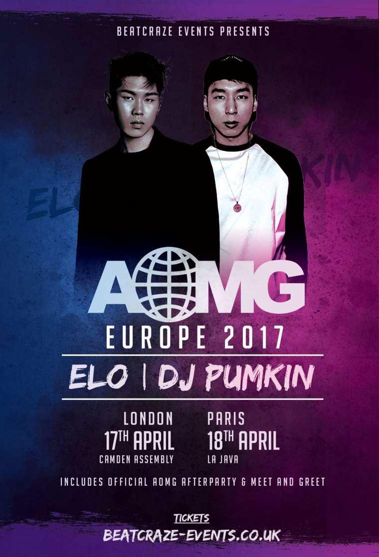 Poster AOMG Europe Tour ELO & DJ Pumkin