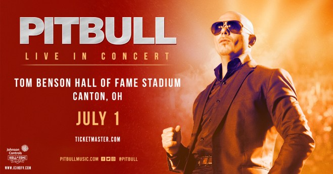 pitbull, tom benson, hall of fame stadium, pitbull concert, hiphop mundo