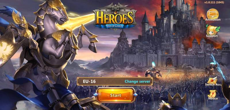 Might and Magic Heroes Era of Chaos widok startowy gry fantasy na androida