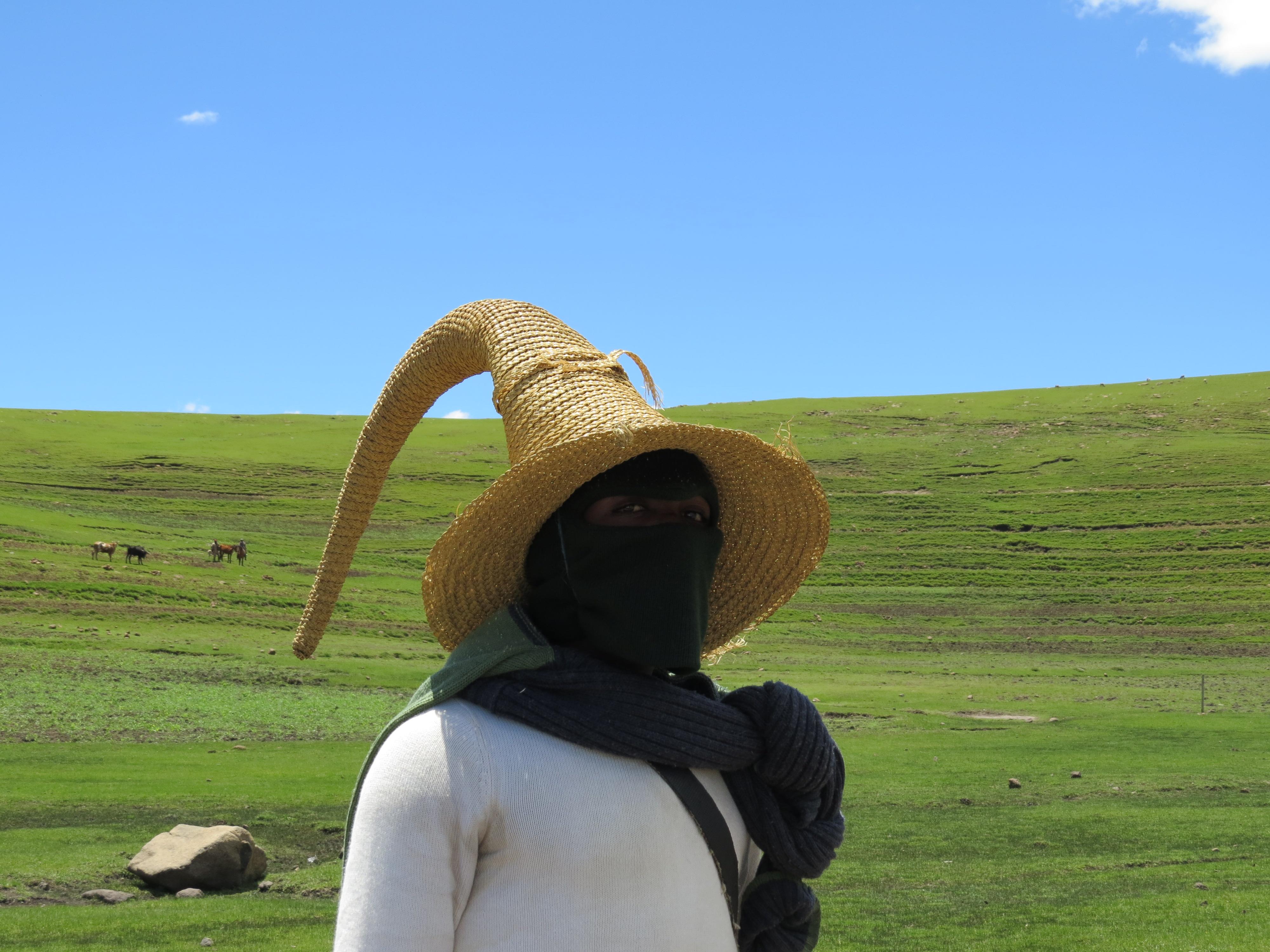 Eigenaardige hoofddeksels Lesotho