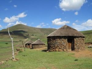 Rondavels woningen in Lesotho