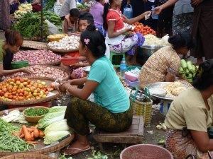 Lokale markt Yangon Myanmar
