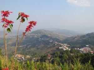 Uitzicht vanaf tempel Mae Salong Thailand