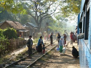 Treinstation bij Kalaw Myanmar