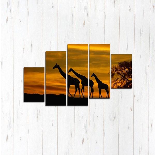 Модульная картина Жирафы на закате