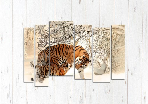 Модульная картина Тигры зимой