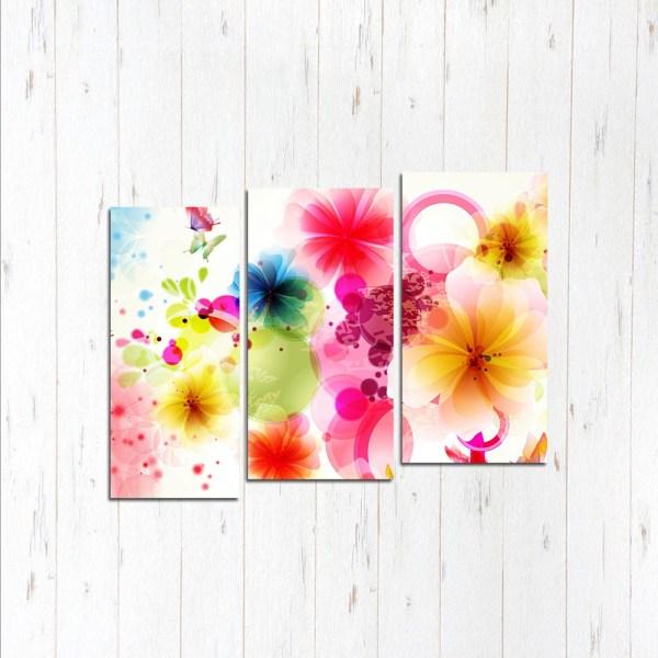 Модульная картина Цветы абстрактные
