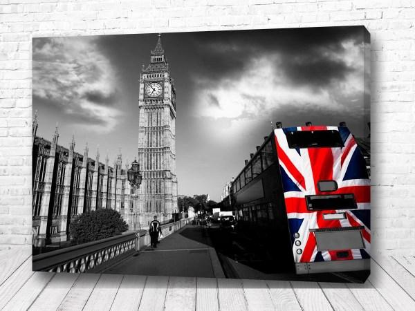 Постер Англия и автобус